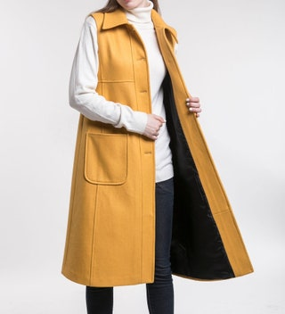 Yellow sleeveless wool coat, winter coat, sleeveless coat, warm winter coat, mod coat, maxi vest, women's winter coat, wool winter coat