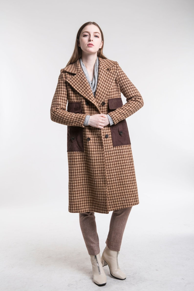 f8897da57ef Brown checked wool overcoat, women's coat, blue coat, winter coat, warm  winter coat, wool coat, double breasted coat, long coat, casual coat