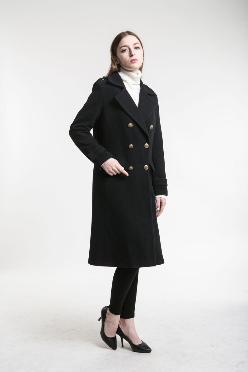 official photos ffe1e 3aa2c Schwarzer Mantel aus Wolle, Damen Mantel, schwarzen Mantel, Wintermantel,  doppelt Zweireiher Mantel, warmen Wintermantel, Wollmantel, langen Mantel,  ...