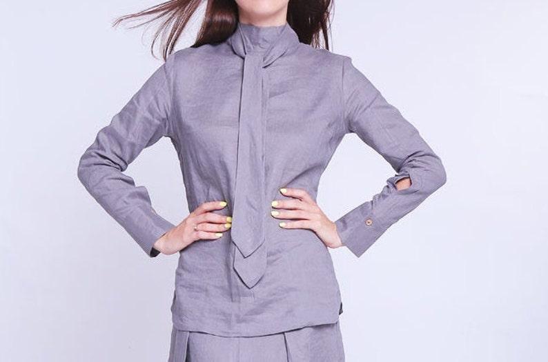 linen top oversized Linen tunic shirt with scarf detail womens blouse loose linen linen blouse womens linen shirt womens linen top