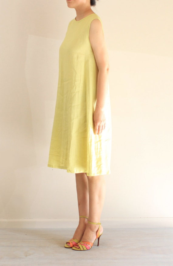 2ce5b6964d64 Minimalist light yellow linen dress a-line dress casual