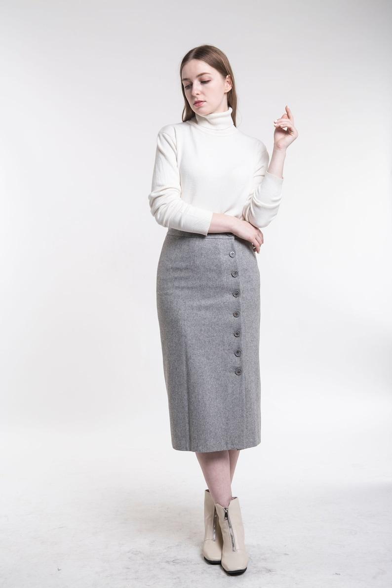 dc531be9d Long Gray Wool Skirt   Saddha