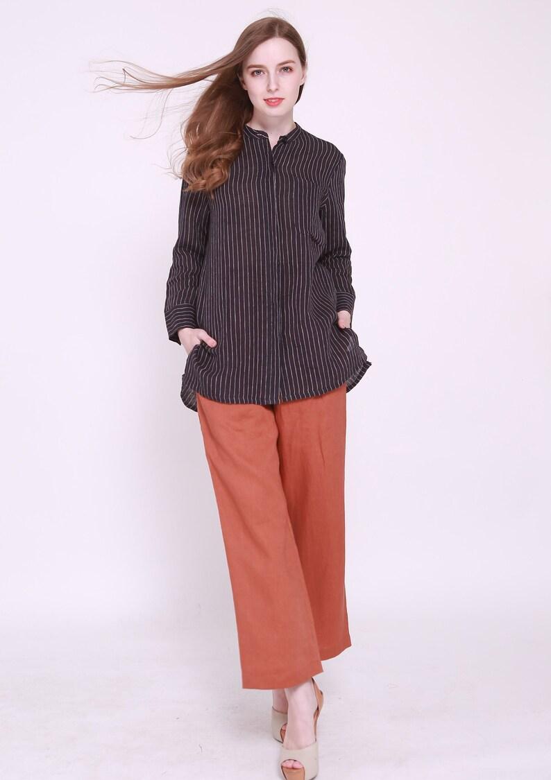 oversized Striped linen tunic blouse womens linen top maternity summer shirt linen top linen tunic womens linen shirt kimono top
