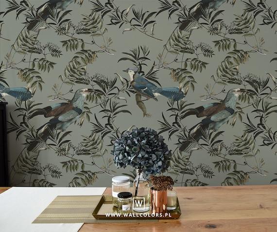Vinyl Wallpaper with Stylized Green Birds