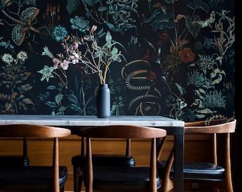 botanical wallpaper secret garden at night, snakes and birds, plants, removable or vinyl wall murals #B8 BOTANIC