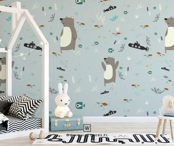 kids wallpaper, underwater world, teddy bear, submarine, removable wallpaper, kids mural, kids bedroom decor, new baby gift