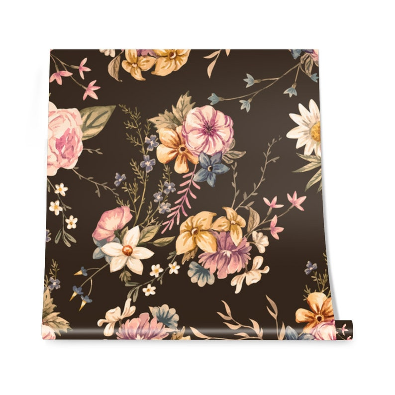 bedroom wall art    #3 roses print vintage bloom removable floral sticker colorful flowers wallpaper