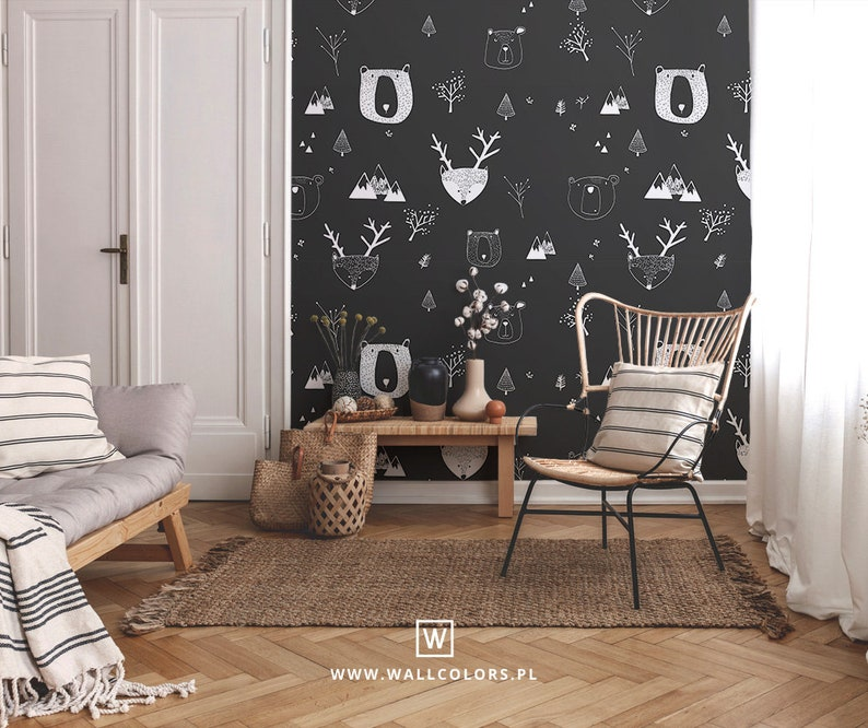 black and white pattern kids wallpaper removable bears and deers in the forest kids room decor    #8 wall murals