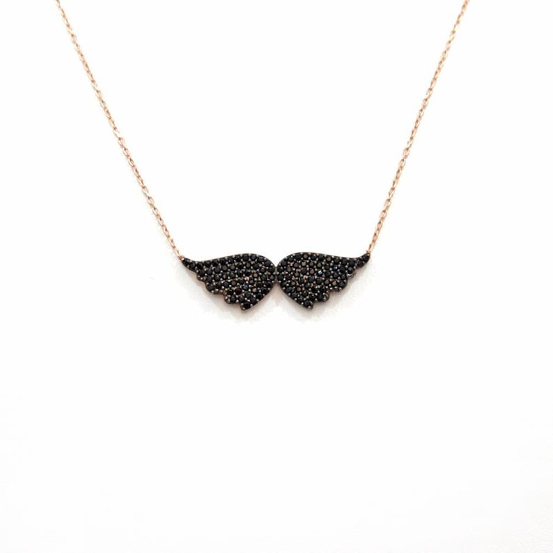 4aebae8aa3147 Angel Wings Necklace, 925 Silver Onyx pave Rose Gold plated Necklace
