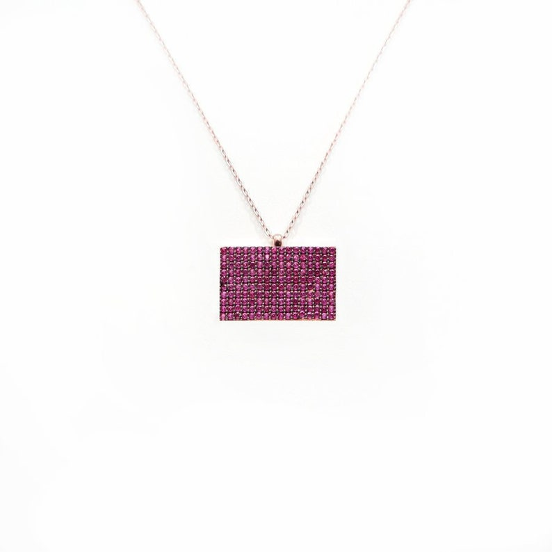c7160d2acd9a2 Pink Rectangle Silver Necklace, Rose Gold Plated 925 Sterling