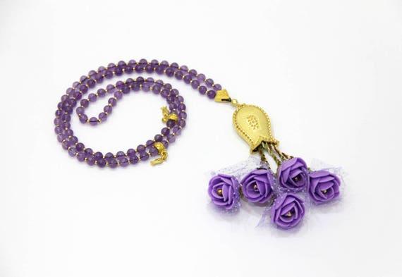 Collier De Perles De Priere Amethyste 99 Tasbih Fleur Meme