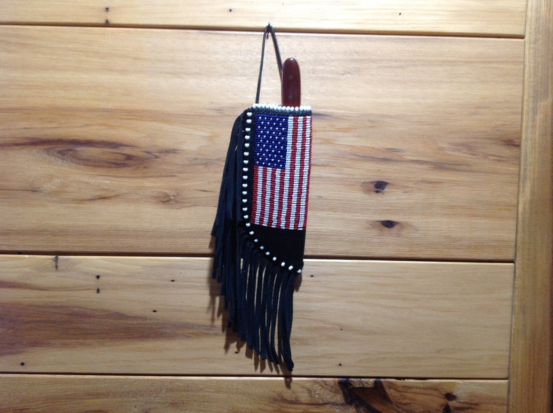 American flag knife sheath, leather knife sheath, beaded knife sheath,  handmade knife sheath, gift for man, fathers day gift, knife sheath