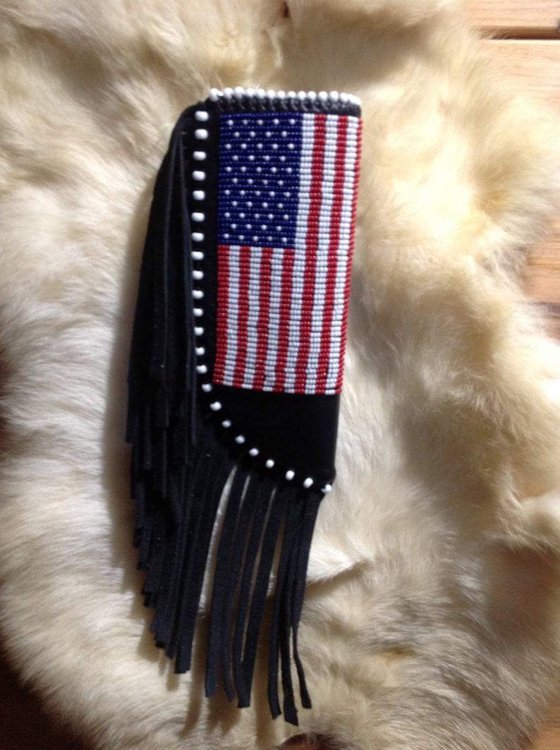 American flag knife sheath, leather knife sheath, beaded knife sheath,  handmade knife sheath, gift for man, fathers day gift, knife sheath