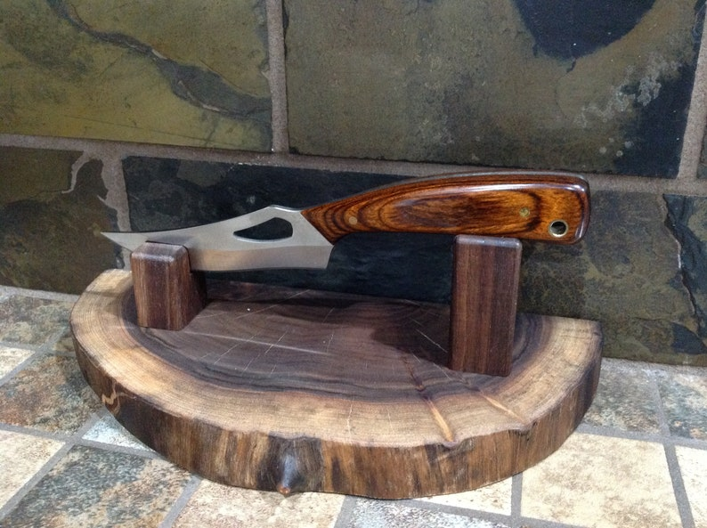 rich grain//beveled edges Solid Walnut Display Base Stand for items//collectibles