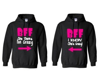 7b724d1f On Sale Today BFF Best Friend Hoodie, Matching women Hoodie, Best Friend  Pullover