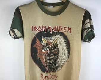 b8a619b9a3c Vintage IRON MAIDEN PURGATORY camouflage alive in the east tshirt
