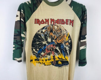 07b3316e Vintage IRON MAIDEN The Number Of The Beast Camouflage 1982 baseball tshirt