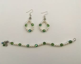 Pearl with Green Accent Earrings and Bracelet