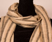 Striped 100 Pure Pashmina Cashmere Scarf, Handwoven on Hand loom in Kashmir, Luxury, Masterpiece, Gift, King of Wool, Soft, Light Weave