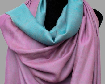 4b56cd4a8 Dual Shade (Reversible) Pure Pashmina/Cashmere Scarf/Wrap, Hand Woven on  Hand loom in Kashmir, Luxury, Masterpiece, Gift, King of Wool.