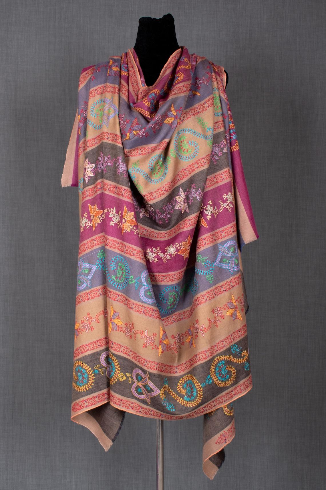 Salma Kashmiri Embroidery Shawl Pure Pashmina Shawl image 0