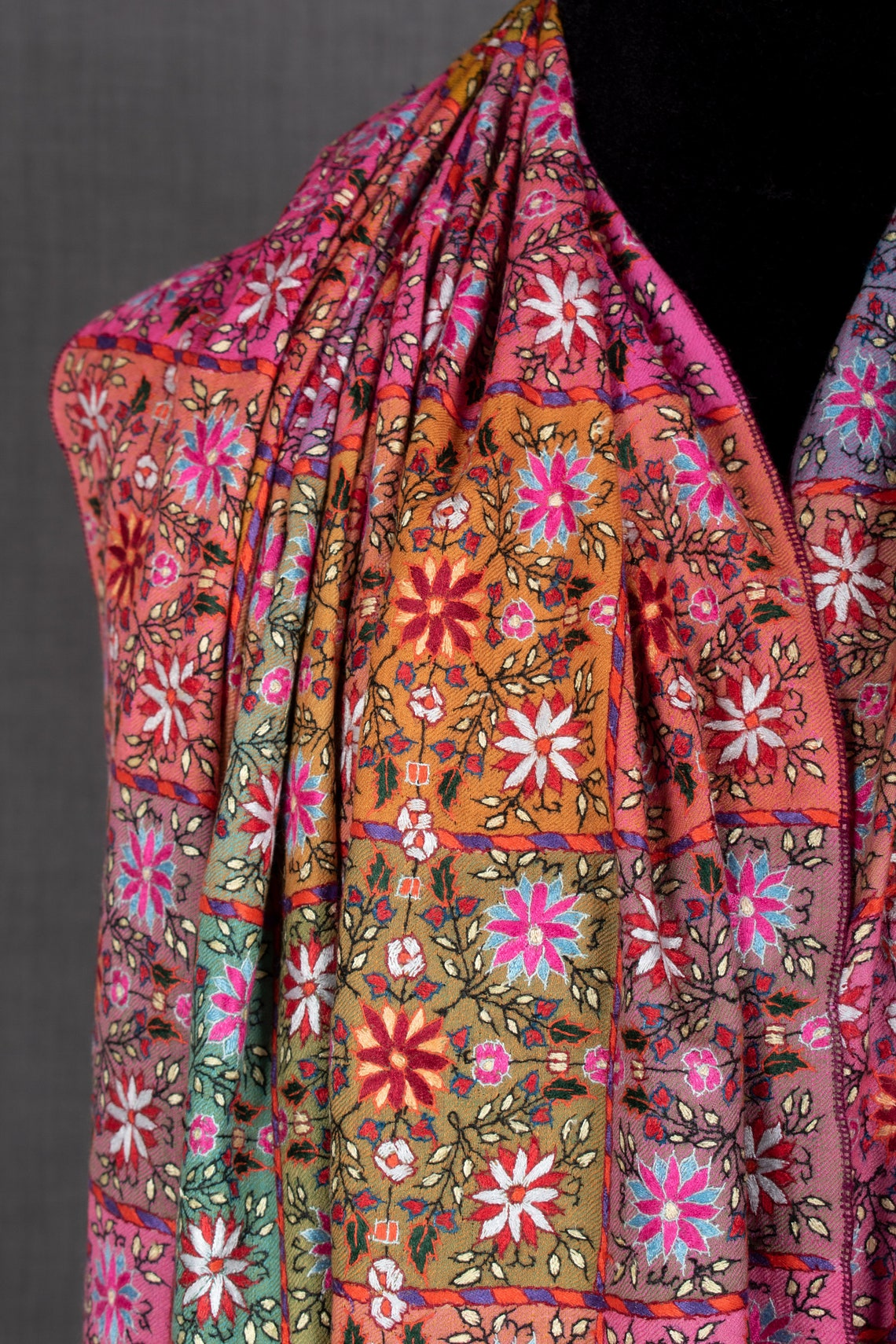 Nargis Striped Pashmina Shawl Indian Embroidery Special image 2