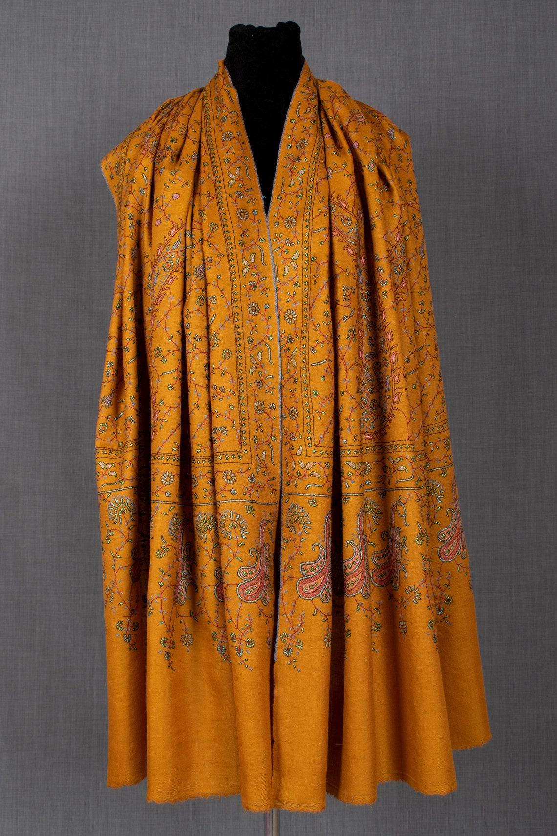 Salisa Pashmina Shawl Hand Embroidered Cashmere 40x80 image 0