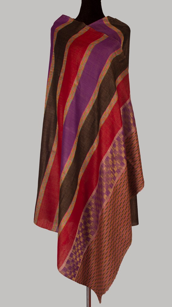 Shawl on Cashmere loom in Masterpiece Hand Wool of Pashmina Luxury Zari Hand Scarf Kashmir King Gift Pure Woven fInRx
