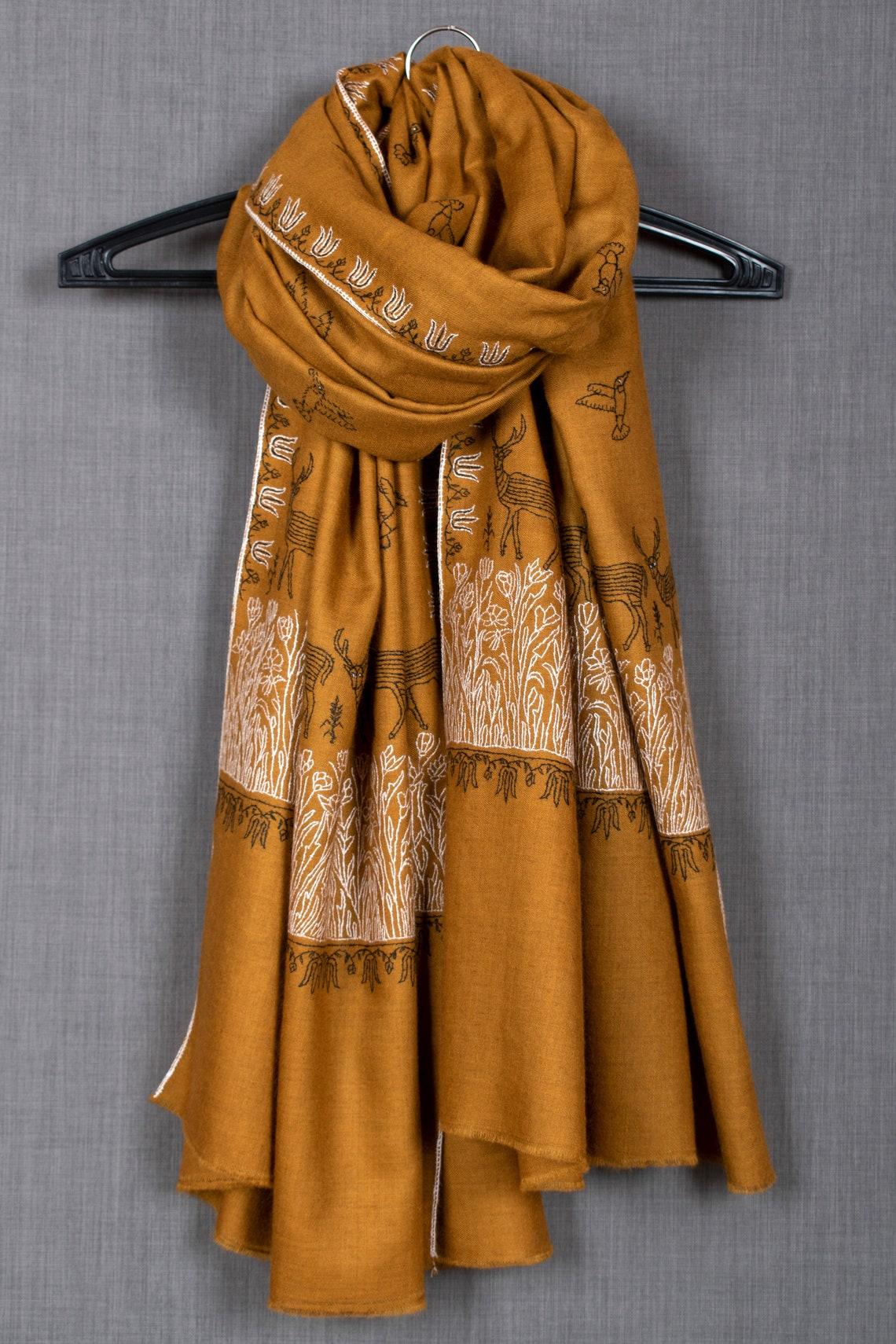 Batool Collection Pashmina Shawl No. 2 Sozni Needlework Wrap image 1