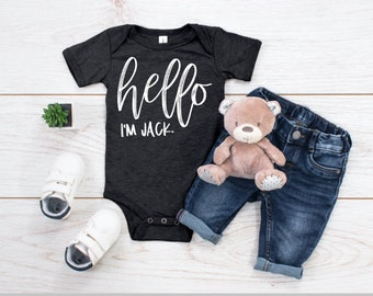 Hello Im Lily Personalized Name Baby Romper World