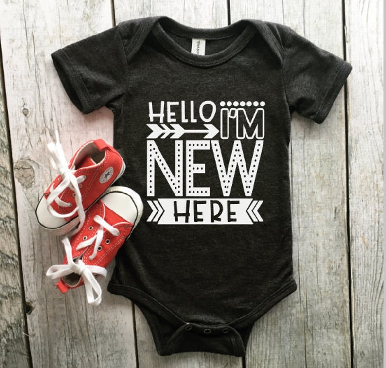 da304dfc1 Hello I m new here onesie Baby coming home onesie