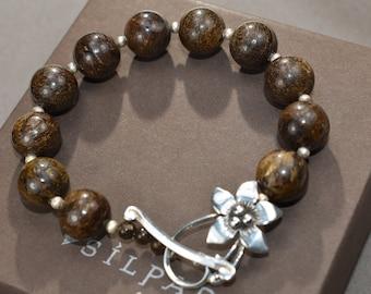 Retired Silpada Bronzite Bracelet Flower Toggle Clasp