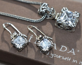 """Silpada RARE Retired """"uptown"""" sterling silver and cubiz zirconia pendant on wheat chain and matching earrings"""