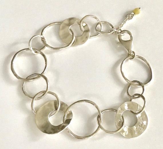 Silver chain Paper bead braceletZolabeadsupcycling