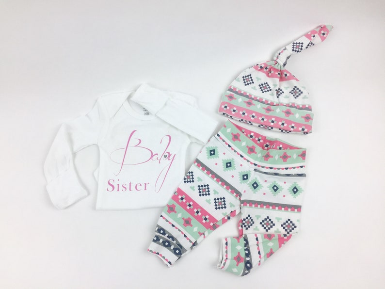 Coming Home Outfit Baby Girl Pink and Grey Aztec Theme Baby Sister Baby Girl Shower Gift Coming Home From The Hospital Outfit Baby
