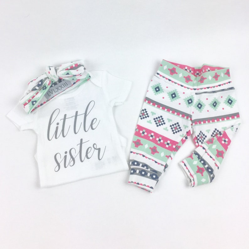 69637570378b Baby girl coming home outfit Grey Little Sister Aztec theme | Etsy