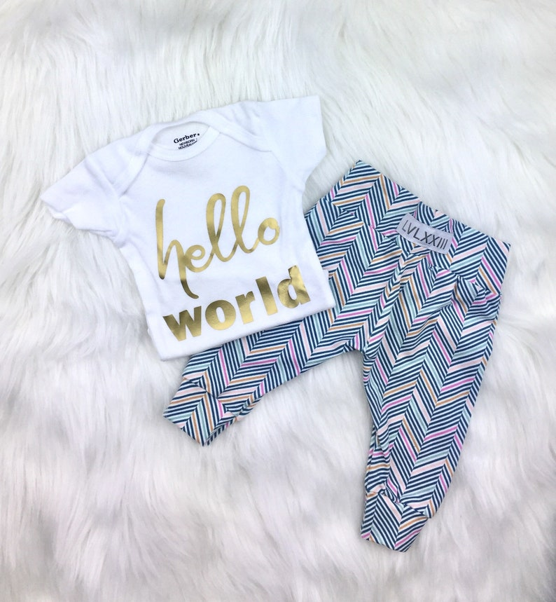 62b1d7e43517 Baby Girl Coming Home Outfit Herringbone Gold Hello World | Etsy