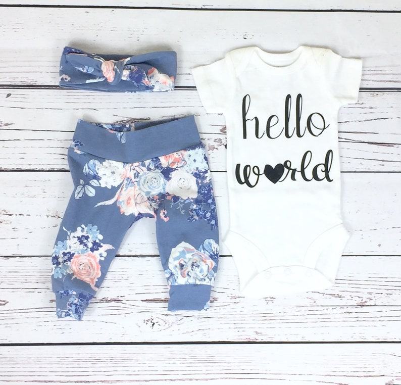 Baby Girl Shower Gift Newborn Baby Coming Home Outfit Hello World Slate Floral Coming Home From The Hospital Outfit