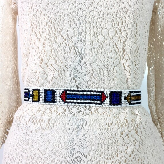Vintage Handmade Beaded Leather Belt Boho Hippy Gray Blue Clasp Front Belt Chicos
