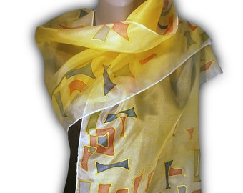 COLOR GEOMETRY-2 Hand Painted Silk Scarf / Woman Silk Scarf, Pure Silk Shawl, Wrap, Scarf painted by hand / Hand-hemmed