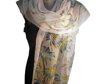 BLUE MOOD  Hand Painted Silk Scarf /Woman Silk Scarf, Pure Silk Shawl, Wrap, Scarf painted by hand/ Hand-hemmed