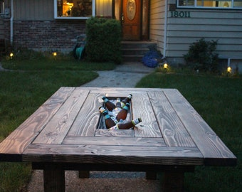 Cooler Table Etsy - Picnic table with grill built in