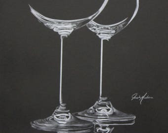 Wine Glasses - 11 x 14 Print of White on Black Drawing