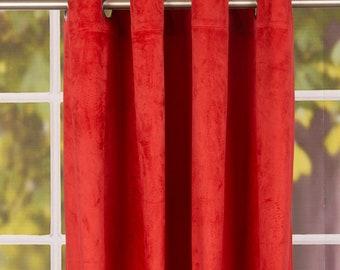 klaar gordijn oogje gordijn uni velours rood 140 x 260 cm