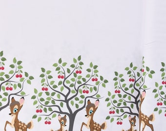 f80771f8d8a Jersey Stenzo border on both sides deer cherry tree white brown green 1.50  m wide