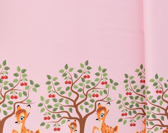 709ed1775d7 Jersey Stenzo border on both sides deer cherry tree pink brown green 1.50m  wide