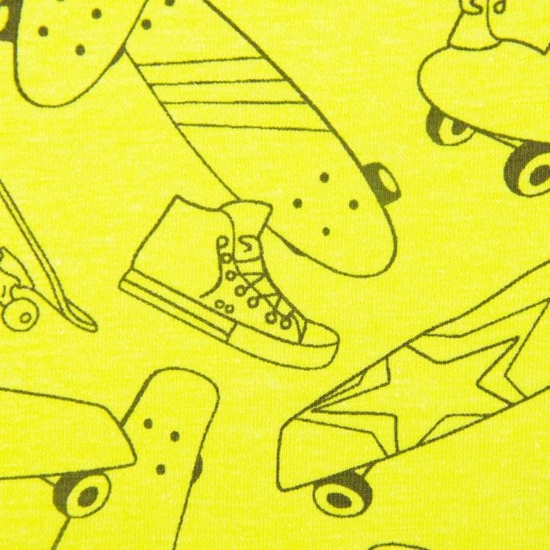 Jerseystoff Jersey Skateboard neon yellow black 1.50m wide