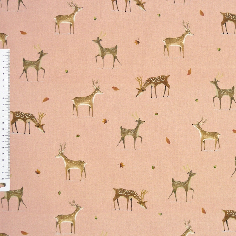 Cotton fabric Digital Print roe pink Brown 1.4 m width