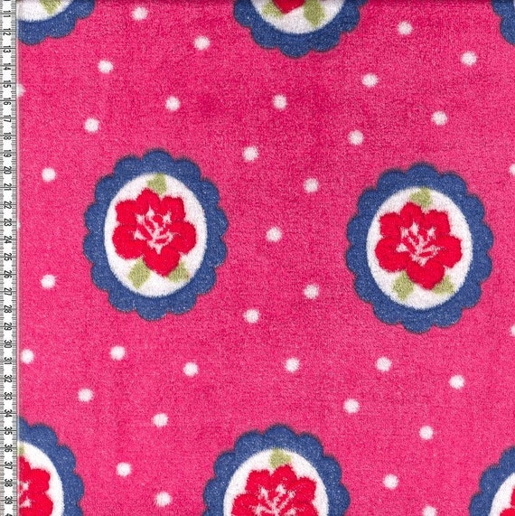 Wellness Fleece Flower In Circle Dots Pink White Blue Etsy