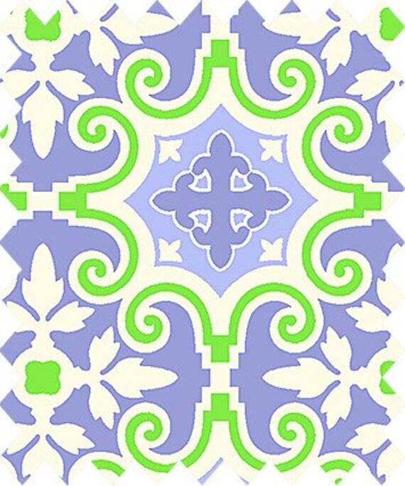 Tissu de coton Gutmann Notting Hill ornement vert largeur de 1,45 m lilas